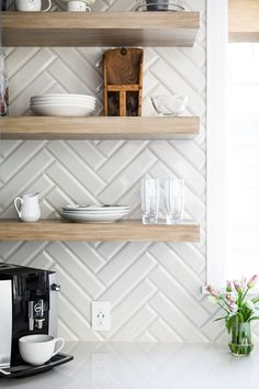 Beveled Tile Backsplash is 3 x 12 Beveled Tile Kitchen Backsplash Tile Beveled . - Beveled Tile Backsplash is 3 x 12 Beveled Tile Kitchen Backsplash Tile Beveled … - Beveled Subway Tile, Kitchen Wall Tiles Design, Tile Design, Kitchen Subway Tiles, White Tile Backsplash Kitchen, Kitchen Backplash, Design Design, Home Decor Kitchen, Interior Design Kitchen