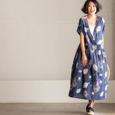 Blue Flower Casual V-neck Short Dress Q2261A