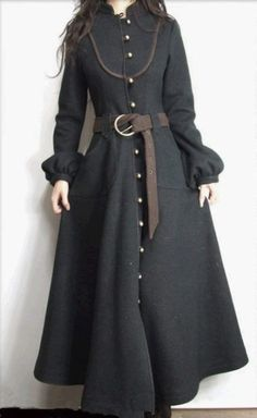 Beautiful and practical Victorian gothic or primitive folk style fashion maxi coat , riding, military style cut love it to death looks to get Folk Fashion, Hijab Fashion, Womens Fashion, Gothic Fashion, Style Work, Mode Style, Beautiful Outfits, Cool Outfits, Mode Vintage