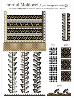 Ie Dorohoi Folk Embroidery, Embroidery Patterns, Cross Stitch Patterns, Knitting Patterns, Diy Projects To Try, Cross Stitching, Beading Patterns, Diy And Crafts, Traditional