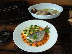 Orata   zucchine e patate salsa ai peperoni  rossi e  tapenade di olive  alla provenzale  . Gino D'Aquino