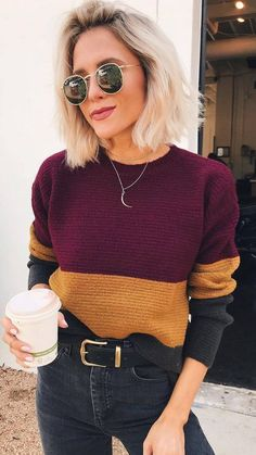 knit sweater and black jeans Street style, street fashion, best street style, OOTD, OOTD… Maroon and Gold Color Block Sweater with Black Belted Jeans 30 Chic Fall Outfit Ideas – Street Style Look. 38 Insanely Cute Casual Style Looks To Copy Now – 30 Fall Outfits, Casual Outfits, Cute Outfits, Chic Winter Outfits, Summer Outfits, Looks Style, Looks Cool, Look Fashion, Fashion Outfits