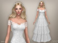 Wedding dress - Vintage for The Sims 4 by BEO Sims 4 Wedding Dress, Long Wedding Dresses, Sims 4 Mm, My Sims, Maxis, Vestidos Vintage, Vintage Dresses, The Sims 4 Cabelos, Pelo Sims