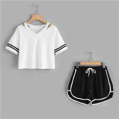 SweatyRocks Stripe Sleeve Top & Drawstring Contrast Trim Shorts Summer Stretchy Sporting Women V neck Casual Clothing Mode Outfits, Fashion Outfits, Suits For Women, Clothes For Women, Summer Outfits, Casual Outfits, T Shirt And Shorts, Two Piece Outfit, Clothing Co