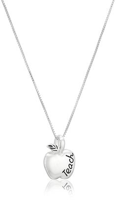 Sterling Silver 'To Teach Is To Touch Lives Forever' Reversible Teacher Apple Pendant Necklace, 18' *** Click on the image for additional details.