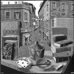 "Escher art | Escher first major op art drawing ""Still Life and Street"""