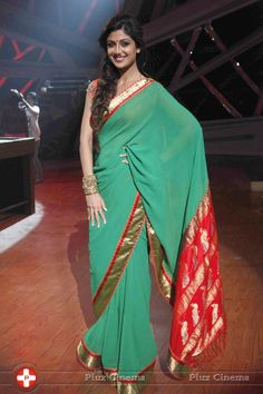 Shilpa Shetty Gren Transparent Saree
