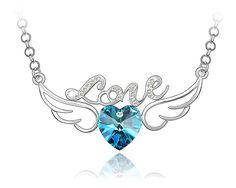 """""""Valentine""""Collier Love Avec Un Coeur Aux Ailes Plaqué Or Blanc En Cristal Swarovski Éléments Bleu - Ninaboxbijou"""