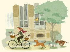 Bike Riding Girl and Dogs Print New Lower Price. $15.00, via Etsy.