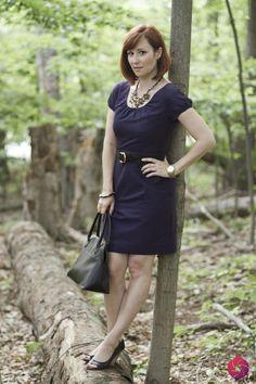 Purple #JCrew dress with classic black.