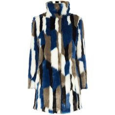 Karen Millen Patchwork Faux Fur Coat, Blue/Multi ($375) ❤ liked on Polyvore featuring outerwear, coats, leather-sleeve coats, funnel-neck coats, long sleeve coat, funnel neck coat and blue faux fur coat