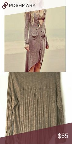 "Free People Beach Hi-lo Cardigan In good condition. Cardigan is meant to have a distressed burlap look perfect for that beach day! Please note fit/style may differ compared to model.  Size medium. Approximate measurements: Length: 25"" front 31"" back. Smoke and pet free home. Ships within one day. Free People Swim Coverups"