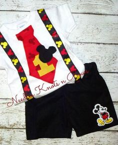 Boys Mickey Mouse First Birthday Outfit, Boys Mickey Mouse Birthday Cake Smash Outfit