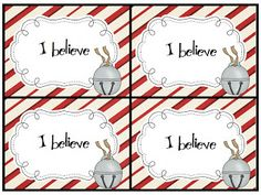 "Polar Express Fun! Use these cards to go with the bells that you give to your students! I ""hide"" mine under the chairs of my students. FREE!"