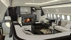 Elisabeth Harvey head of design at Basel-based aviation interiors design studio, Jet Aviation, talks to us about the process of designing and outfitting a private aircraft, complete with pop-up vanity case and walk-in closet to designer fireplace
