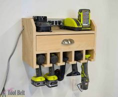 Father's Day DIY Gift Idea -Do It Yourself Project - DIY Cordless Drill Storage and Charging Station with FREE PLANS via Her Toolbelt