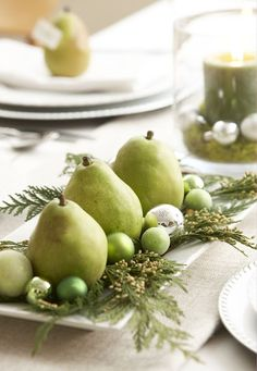 Pear centerpiece - pears, incense cedar, Christmas balls.