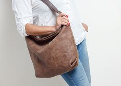 brown leather shoulder bag  oversized leather by MeravSegevBags