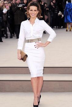 Kate Beckinsale added a further dose of Hollywood glamour to the Burberry  Prorsum front row, wearing a white shirt and pencil skirt, teamed with  black pumps ... cff6538c288