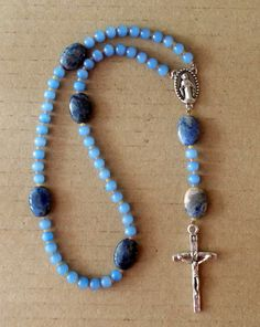 Blue Glass and Sodalite Gemstone Catholic Rosary by SoFineDesigns on Etsy