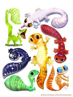 Daily Paint Leopard Gecko Designs by Cryptid-Creations on DeviantArt Creature Drawings, Animal Drawings, Cute Drawings, Cute Lizard, Cute Gecko, Cute Reptiles, Reptiles And Amphibians, Funny Lizards, Gecko Tattoo