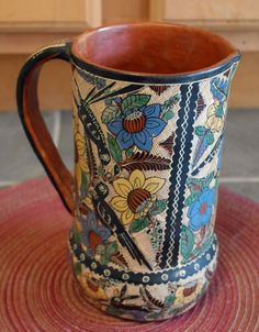 """1950s Tomas Lucano Mexican Pottery Pitcher Wow! Birds Rabbits Sunflowers. Signed Tomas Lucano. Dias. It measures a little over 8"""" in height. From Ebay March 05, 2014 Sold for: US $199.00"""