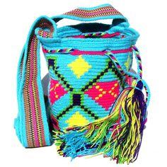 Wayuu Mochila Small 1 hebra bag by Wayuu Chic turquoise pink diamond