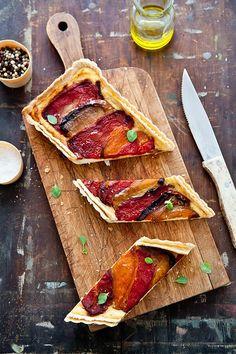 Tartelette: Comforting Recipes: Quinoa, Watermelon & Feta Salad, Roasted Pepper & Ricotta Tart, Peach & Nectarine Granita