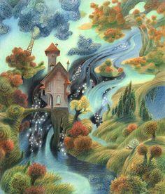 Сообщество иллюстраторов | Иллюстрация Oleg Mayorov - Дом Странствующего голубя. Осень. Графика. Карандаш