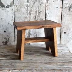 Step Stool. For those who are short in stature or who have things stored high in the sky, or for those with wee lads and gals who must reach a sink or shelf, or a surface to draw or play, this stool is the remedy. Each stool will vary in grain and indications of the wood's prior use. Reclaimed Oak or Chestnut wood from 19th century Philadelphia buildings Finished with tung oil Minimally packaged with a letterpressed tag and jute Made in Philadelphia, Penna. PLEASE NOTE Though some…