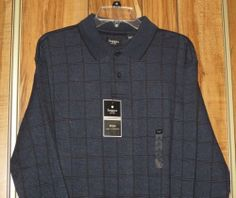 NWT Men's Haggar Work to Weekend Blue Checked Long Sleeve Sweater Size Large New #Haggar #Polo