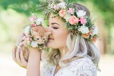 When a stray mama cat showed up at this photographer's front door, she knew just what to do to find the soon to come kittens a forever home. Tadashi Shoji Dresses, Cat Wedding, Mama Cat, Bridal Shoot, Bridal Portraits, Flower Dresses, Kittens Cutest, Flower Crown, White Lace