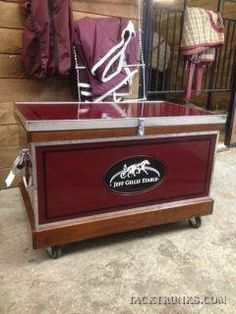 Large standard trunks are crafted with removable sliding trays, a removable tote, hydraulic lid stays and spring load handles. Tack Trunk Options include: bandage lid, a bit box, vinyl top added, rubber top added, rolling casters, vinyl back added, cork/mirror whiteboard insert, cedar or felt lining, sealed bottom or a show tote.  Large Trunk = Length 38 1/2″, Width, 23 3/4″, Height 22 1/4″ Can Design, Design Your Own, Bit Box, Tack Box, Tack Trunk, Horse Rearing, Barn Signs, Wood Vinyl, Horse Tack