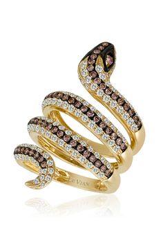 Le Vian 14k Gold Diamond Snake Ring White & Chocolate diamonds