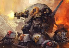 Leman Russ, Primarch of the Space Wolves. The artist has rendered the scene with coulours that show off the viciousness of the space wolves. The posture of the figure gives me a sense of the scale that i need to show when making my boss, as space marines are already taller than the average man, and a primarch is about the size needed for my boss criteria.