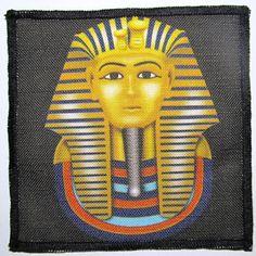 KING TUT - Ancient Egyptian Bad Guy  -  Printed Sew On Patch - Vest, Bag, Backpack, Jacket - p6 Black Thread, Vest, Jacket, Sew On Patches, Egyptian, Cotton Canvas, Backpack, King, Guys