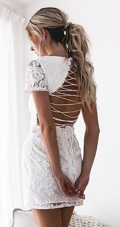 #summer #outfits  White Lace Lace-up Back Dress 😍