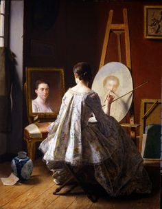 Jean Alphonse Roehn - Portrait of an Artist Painting Her Self Portrait