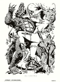 'Wizards and Warrior Women: a Portfolio of Fantasy Drawings', by Frank Thorne. Red Sonja, Fantasy Drawings, Fantasy Kunst, Dark Fantasy Art, Ink Drawings, Comic Book Artists, Comic Artist, Comic Books Art, Barbarian Woman