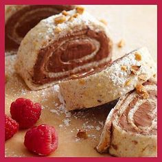 Hazelnut Meringue Roulade,not low carb as written,but can be adapted Low Gi Desserts, Low Carb Deserts, Low Carb Sweets, Sugar Free Desserts, Fun Desserts, Delicious Desserts, Healthier Desserts, Dessert Ideas, Diabetic Cake Recipes