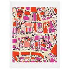 DENY Designs Holli Zollinger Paris Map Pink Art Print : Target