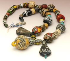 Ancient Islamic Glass Beads w/ Three Pendants 24 - c 900-1200 AD - $ 5,300
