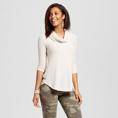 9c631e08980 Women s Brushed Waffle Knit Cowl Neck Top - Almost Famous (Juniors )    Target