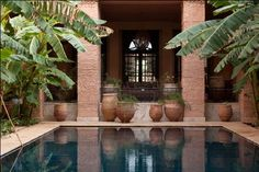 Terra Cotta palate, elegant lines Marrakech Hotels, Little Pool, Exterior Siding, Courtyards, Terra Cotta, Atrium, Hotel Spa, Indian Style, Outdoor Rooms