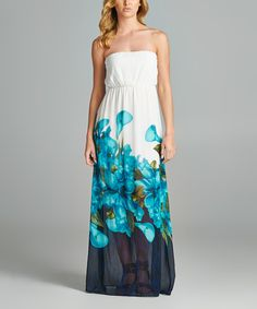 Another great find on #zulily! 42POPS Blue Floral Watercolor Strapless Maxi Dress by 42POPS #zulilyfinds