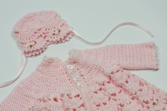 Baby girl sweater, hat by TheNanimalShop on Etsy
