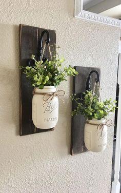 Loving This Idea...Etsy Mason Jar Hanging Planter, Home Decor, Wall Decor, Rustic Decor, Hanging Mason Jar Sconce, Mason Jar #DIYHomeDecorMasonJars