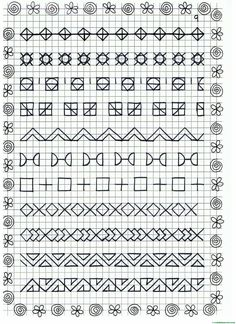 Blackwork Patterns, Blackwork Embroidery, Tangle Patterns, Symmetry Worksheets, Graphing Worksheets, Cross Stitch Borders, Cross Stitch Designs, Cross Stitch Patterns, Graph Paper Drawings