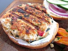 greek turkey burgers with garlic & dill sauce. healthy alternative to the standard burger.