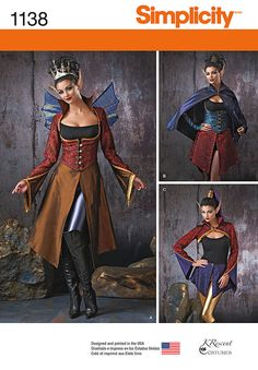 misses' dark faeries costumes include vest, jacket, cape, bolero, overskirt in three lengths, wings and gauntlets. k crescent costumes for simplicity.